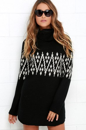Say It Ain't Snow Black Print Sweater Dress at Lulus.com!