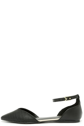 Clubhouse Black Croc Ankle Strap Flats at Lulus.com!