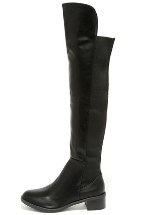 Little Bit of That Black Over the Knee Boots at Lulus.com!