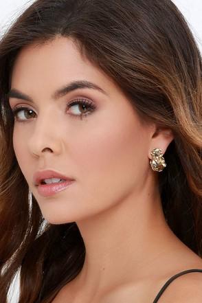 Glamor Hour Pink Rhinestone Peekaboo Earrings at Lulus.com!