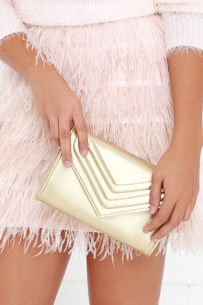 Dance Card Gold Clutch at Lulus.com!