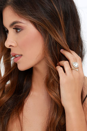 Off the Hinges Gold and Clear Rhinestone Ring at Lulus.com!