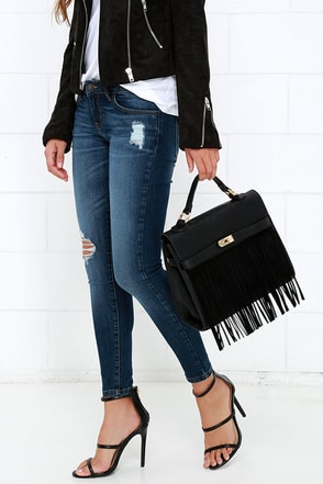 Idlewild West Black Fringe Purse at Lulus.com!