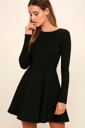 Forever Chic Black Long Sleeve Dress at Lulus.com!