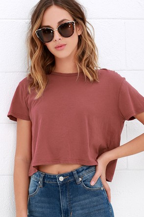 Obey Tiny Tee Rust Red Crop Top at Lulus.com!