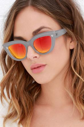 Quay Kitti Coffee and Orange Mirrored Cat Eye Sunglasses at Lulus.com!