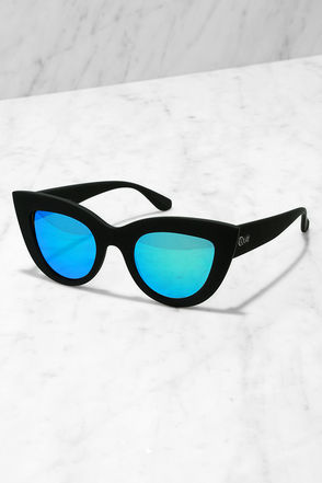 Quay Kitti Black and Blue Mirrored Cat Eye Sunglasses at Lulus.com!