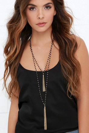 Bedazzle and Charm Black and Gold Layered Necklace at Lulus.com!
