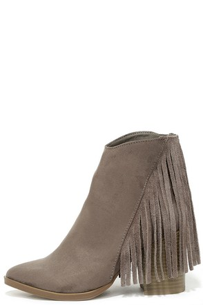 Madden Girl Shaare Taupe Suede Fringe Booties at Lulus.com!