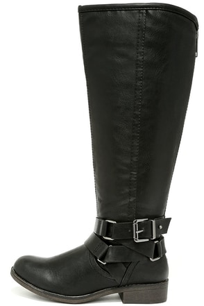 Madden Girl Corporel Black Knee-High Boots at Lulus.com!