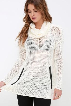 RVCA Down Unda Cream Cowl Neck Sweater at Lulus.com!