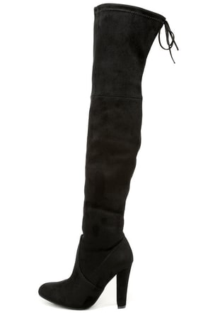 Steve Madden Gorgeous Black Suede Over the Knee Boots at Lulus.com!