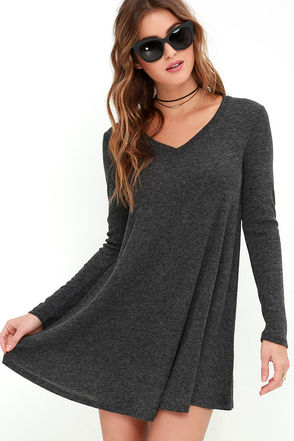 There Goes My Heart Dark Grey Swing Dress at Lulus.com!