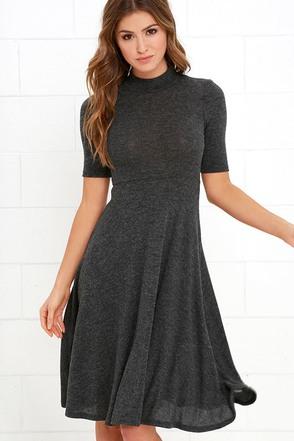 Philosophy of Style Dark Grey Midi Dress at Lulus.com!