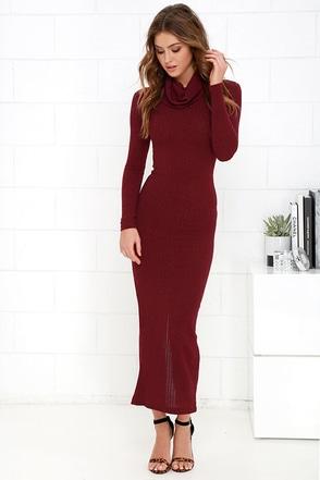 Luxury Lounge Wine Red Long Sleeve Dress at Lulus.com!