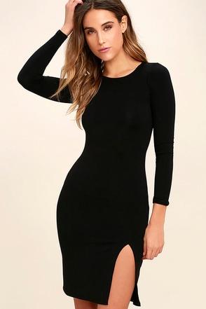 How I Wonder Black Long Sleeve Midi Dress at Lulus.com!