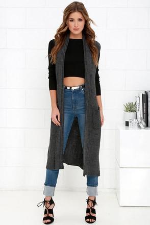 Alma Mater Charcoal Grey Long Sleeveless Sweater at Lulus.com!