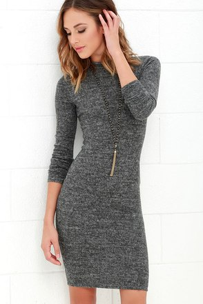 Modern Marl Grey Long Sleeve Midi Dress at Lulus.com!