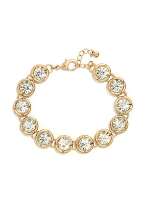 Sincere Sentiment Gold and Clear Rhinestone Bracelet at Lulus.com!