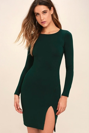 How I Wonder Dark Green Long Sleeve Midi Dress at Lulus.com!
