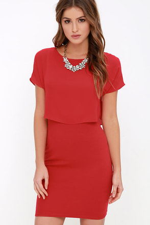 Half the Fun Red Midi Dress at Lulus.com!