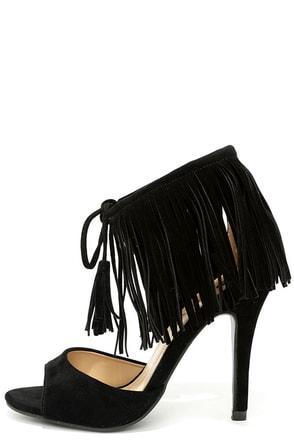 Fancy-Free Spirit Black Suede Fringe Heels at Lulus.com!
