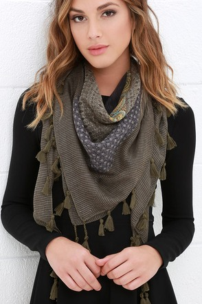 Thunder Canyon Olive Green Print Scarf at Lulus.com!