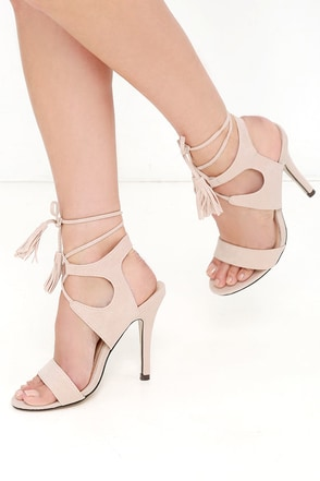 Forces of Nature Nude Suede Lace-Up Heels at Lulus.com!