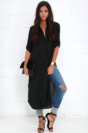 Tall Timber Black Button-Up Maxi Top at Lulus.com!