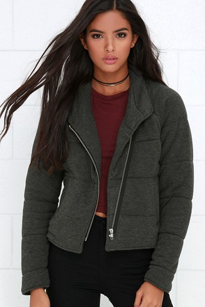 Obey Sierra Grey Quilted Jacket at Lulus.com!