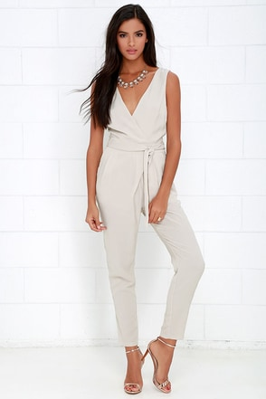 Advanced Degree Light Beige Sleeveless Jumpsuit at Lulus.com!