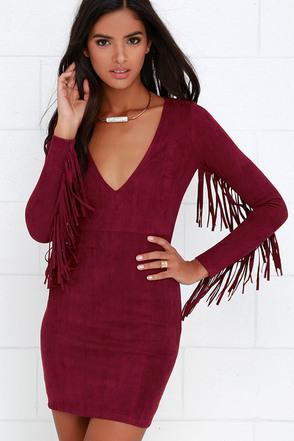 Still Wild Black Suede Fringe Dress at Lulus.com!