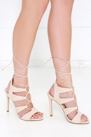 Steve Madden Sandalia Blush Nubuck Leather Lace-Up Heels at Lulus.com!