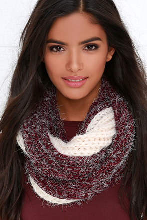 Take Two-Tone Ivory and Burgundy Infinity Scarf at Lulus.com!