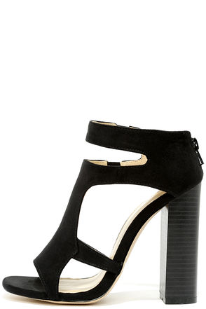 You Can Tell Black Suede Cutout Heels at Lulus.com!