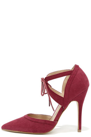 Such a Crush Wine Suede Pointed Lace-Up Heels at Lulus.com!