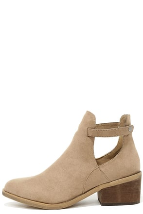 Side Kicks Natural Suede Cutout Ankle Booties at Lulus.com!