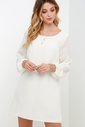 Guiding Light Ivory Long Sleeve Shift Dress at Lulus.com!
