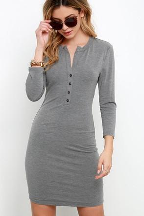 Style Inspo Heather Grey Dress at Lulus.com!