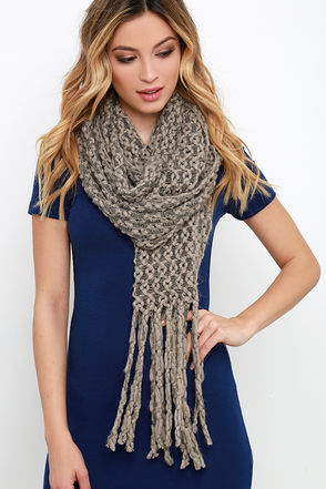 Squiggle With It Taupe Knit Scarf at Lulus.com!