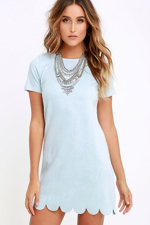 Well Suede Light Blue Suede Shift Dress at Lulus.com!