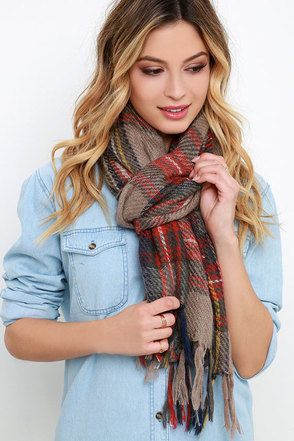 Hearth Day Red and Brown Plaid Scarf at Lulus.com!