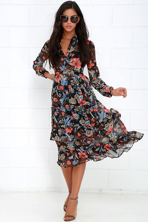 A Peony Earned Black Floral Print Midi Dress at Lulus.com!