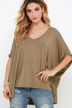 Lower Atmosphere Brown V Neck Top at Lulus.com!