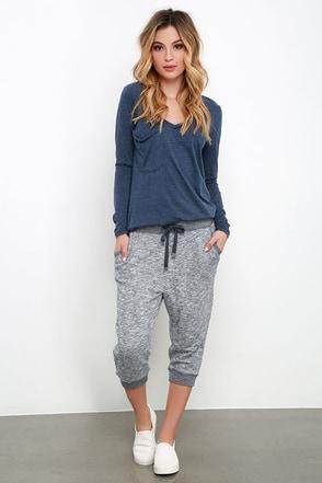 Morning Run Slate Blue Marl Knit Jogger Pants at Lulus.com!