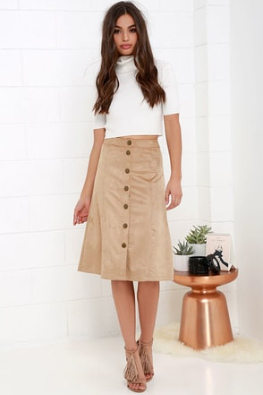 Gimme Jive Beige Suede Midi Skirt at Lulus.com!