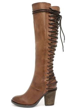 Steve Madden Rikter Cognac Leather Knee High Heel Boots at Lulus.com!