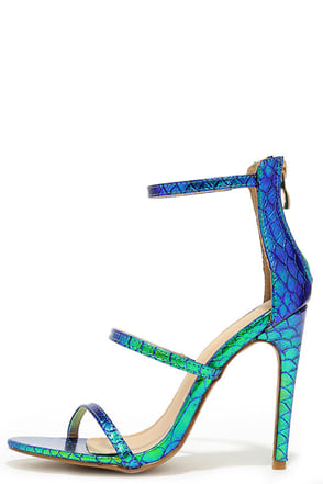 Three Love Green Hologram Dress Sandals at Lulus.com!