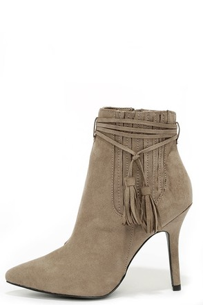 Uptown Living Taupe Suede Pointed Ankle Booties at Lulus.com!