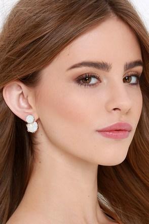 Glamor Hour Iridescent White Rhinestone Peekaboo Earrings at Lulus.com!